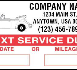 Service Reminder Stickers